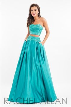 3b70c042777 Rachel Allan 7525 is a two piece Matte Satin gown with a beaded bodice and  a full skirt with beaded waist and pockets.