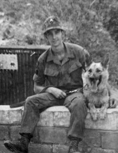 Sgt. Roscoe Bookbinder & war dog Rex. 1968 Vietnam