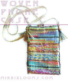 woven phone case, hand painted silk and size 8 beads.