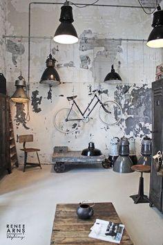 Industrial Artwork, Industrial Interior Design, Vintage Industrial Furniture, Industrial Living, Industrial Interiors, Home Interior Design, Industrial Apartment, Urban Industrial, Industrial Style