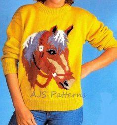 PDF Knitting Pattern  Horse Horse's Head Motif por TheKnittingSheep, £3.00