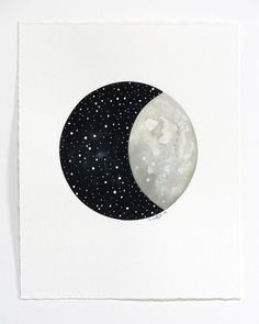 etsyfindoftheday:etsyfindoftheday 3   3.31.15moon and stars original painting by natashanewtonartnatasha newton is the talented artist behind this shop's paintings — you can get an original piece, like this half moon on an inky sky, or you can get one of her works in a print form. the grey watercolor lunar face has an incredible depth against the celestial semicircle.
