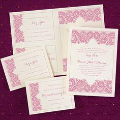 Wedding Invitations - Wedding Invites - French Lace - Sep 'n Send - Ecru