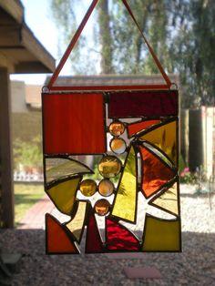 Mini Stained Glass Abstract Panel-Orange-Yellow-Orange-Suncatcher. $22.00, via Etsy.