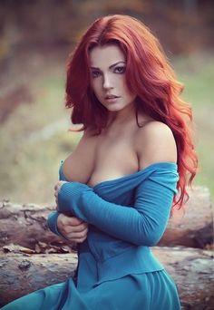soft blue dress, red hair