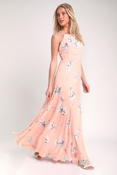 604e826ece54 Eternal Joy Blush Pink Floral Print Maxi Dress Blush Pink Maxi Dress, Hot Pink  Dresses