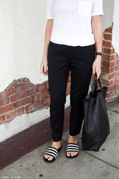 T by Alexander Wang tshirt The Kooples trousers Hipster Outfits, Lazy Outfits, Summer Outfits, Adidas Slides Outfit, Adidas Sandals, Birkenstock, Modest Fashion, Fashion Outfits, Sandals Outfit