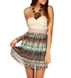 Mint/Taupe Strapless Short Dress