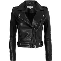 IRO Women's Luiga Moto Black Leather Jacket (4.090 BRL) ❤ liked on Polyvore featuring outerwear, jackets, coats & jackets, tops, coats, black, zipper jacket, real leather jackets, iro jacket and leather biker jacket