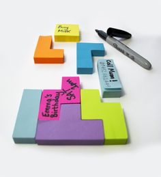 Tetris Sticky Notes. Pack of sticky notes shaped like blocks from the popular game. $12.00