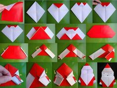 Here is a fun crafts for whole family --- make Origami Santa . Origami, also known as the art of folding paper, allows you to create a variety of shapes su Paper Folding Crafts, Paper Crafts For Kids, Diy Paper, Paper Crafting, Christmas Crafts, Christmas Decorations, Diy Crafts, Tree Decorations, Santa Crafts