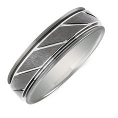 Men's Patterned Ring in Gray Tungsten