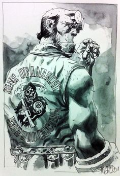 Hellboy + Sons of Anarchy = Ron Perlman. I want to see this if someone ever… Arte Led Zeppelin, Comic Books Art, Book Art, Hellboy Tattoo, Ron Perlman, Sons Of Anarchy, Dark Horse, Comic Artist, Cartoon Art