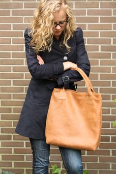 Handmade light brown leather shopper / tote bag with lining by Vank Design