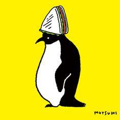 サンドイッチ帽子🐧  #illustration #イラスト #サンドイッチの日 #ペンギン