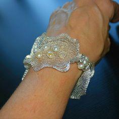 Lace wrist cuff bracelet Pearl cuff bracelet Wide cuff bracelet Real pearl bracelet Ribbon Crochet bracelet Custom Mesh Jewelry Trending now – Elizabeth Kousiakis – Trend Fashion Bracelets, Fashion Jewelry, Women Jewelry, Pearl Bracelets, Pearl Rings, Pearl Necklaces, Jewelry Bracelets, Jewellery, Ribbon Jewelry