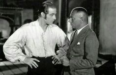 Rudolph Valentino and Eric von Stroheim on the set of The Eagle, 1925.