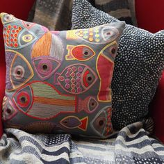Pavo SF // Fish Embroidered Charcoal Cotton Pillow