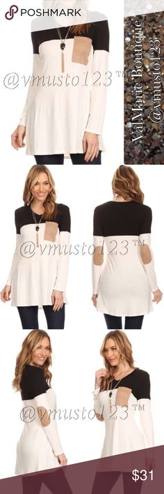 """COMING SOON - Asymmetrical Long Sleeve Tunic Top MADE IN USA - PREMIUM COLLECTION  GORGEOUS TOP!!! SUPER SOFT long body long sleeve top in a relaxed style with a crew neck, a front pocket, elbow patches and color block detailing  CASUAL SLIGHTLY FLOWY FIT, LOOKS SO GOOD ON!  *Model wearing size S- 32Bx25Wx35H and height is 5' 9""""  95% RAYON, 5% SPANDEX  S(2-4) M(6-8) L(10-12) XL (14-16)  ‼️PRICE IS ABSOLUTE FIRM‼️ PLEASE KEEP IN MIND MADE IN USA CLOTHING COSTS AND POSH FEES.   ESTIMATED…"""