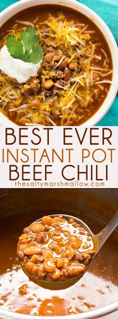 My favorite chili. Best Easy Instant Pot Chili is simple to make with a mouthwatering combination of beef and beans! You can have a bowl of cozy chili that tastes like it simmered for hours ready in about 30 minutes! Chilli Recipes, Crockpot Recipes, Soup Recipes, Cooking Recipes, Healthy Recipes, Cooking Chili, Cooking Games, Chicken Recipes, Rice Recipes