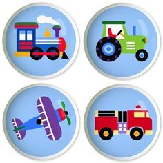 FOR NOAH'S ROOM Kids Drawer Knobs - Trains, Planes & Trucks Collection (Set of 4) by Olive Kids, http://www.amazon.com/dp/B0061BP5PW/ref=cm_sw_r_pi_dp_Snmksb0DS7907