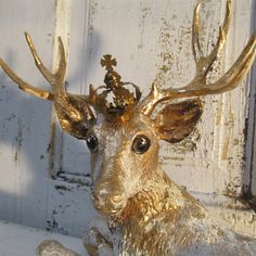 French vintage deer with crown large figurine hand painted golden with accents vintage metal floral accent piece home decor anita spero