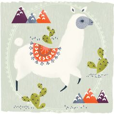 Llama Illustration by Maeve Parker. Alpacas, Alpaca Illustration, Graphic Illustration, Llama Arts, Scandinavian Folk Art, Llama Alpaca, Arte Popular, Illustrations Posters, Art Prints