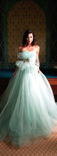 Mint wedding dress by Karen Caldwell