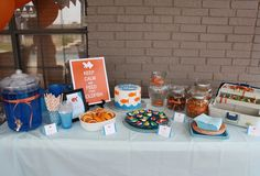 Gold Fish Party- Way cute decorations. Candy sushi, tackle box with gummy worms in it,blue punch etc.. Pretty cute and inexpensive party..