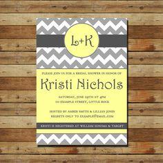 Gray Yellow Chevron Bridal Shower Invitation (digital file) Choose your colors