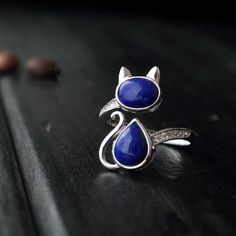 925 sterling silver cat ring jewelry with classical natural stone lapis for women