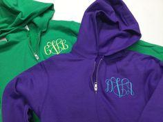 Monogrammed bridesmaid hoodies, gifts for bridesmaid embroidered personalized Monogram Hoodie, Monogram Initials, Teacher Tote Bags, Full Zip Hoodie, Hoodies, Sweatshirts, Bridesmaid Gifts, Hooded Jacket, Zip Ups
