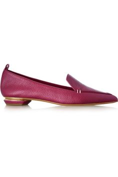 Sculpted gold heel measures approximately 20mm/ 1 inch Raspberry textured-leather Slip on Designer color: Pink