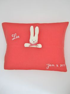 Coral Bunny Pillow by Julia B.  from Julia B. Custom Linens