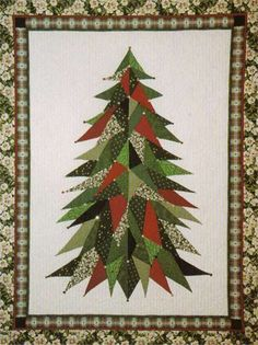 Sage Country Christmas Tree Quilt Pattern LSC-0101 (advanced beginner, lap and throw)