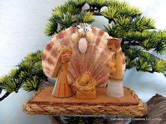 Nativity sea shell free standing christmas by CarmelasCoastalCraft, $9.99