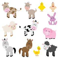 Farm Animals Children's Wall Stickers Set of 12 removable Full Colour Wall Art Decals Amazon.co.uk Baby