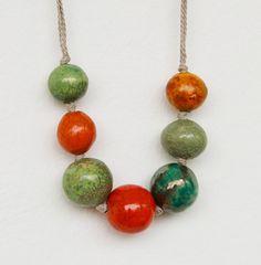 necklace with big coloured beads raku by SIMONAFRIGERIOart