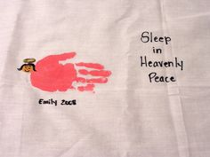 Christmas gift for parents -- child's handprint to make an angel on a pillowcase.