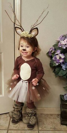 Halloween Fun! Halloween Costume For Toddlers, Baby, Infant Ideas. DIY Cutest Deer Costume Ever and so very simple