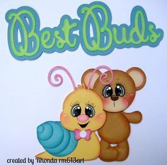 Best Buds bear snail girl paper piecing premade scrapbook page Rhonda rm613art