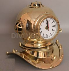 "COLLECTIBLE SOLID BRASS DIVERS HELMET CLOCK MINIATURE REPRODUCTION ""8"" 