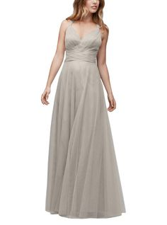 DescriptionWtoo by Watters Style 142Full length bridesmaid dressV-necklineConvertible straps can be tied as halter or laced through hidden loops to create a crisscross backBobbinet Tulle