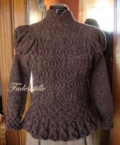 Fadenstille's Nostalgie pullover, front.    . . . knit entirely in freeform. Jealous, aren't you?