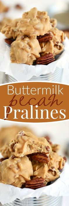 Old fashioned candy is the best! I love surprising friends and family with homemade candy during the holidays and these Buttermilk Pecan Pralines is one of my favorites! Ultra smooth and creamy and oh-so decadent, it's everyone's favorite treat! // Mom On Timeout