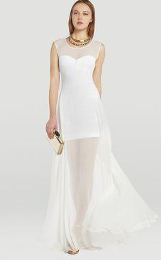 White Long Sheer Bridesmaid Dress (JTAU-0190) at 4formal.com.au