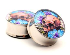 Skull and Roses Picture Plugs gauges - 00g, 7/16, 1/2, 9/16, 5/8, 3/4, 7/8, 1 inch. $19.99, via Etsy.