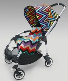 The luxury stroller company, Bugaboo will release beautiful Missoni prints in July. While a bright block print embellishes the Bugaboo Cameleon sun cover, the vivacious zigzags beautifies the Bugaboo Bee sun canopy. Bugaboo Bee Stroller, Bugaboo Cameleon, Baby Strollers, Missoni, Chevron, Babyshower, Baby Carriage, Stylish Baby, Prams