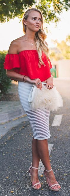 Classy and sexy in the city | lady in red | sexy blonde in red Ruffle Shoulder Top and white skirt | perfect attire for a lunch date | enhance her wardrobe with quiet beauty and drama of white pearls strands necklace and bracelet jewelry | #thejewelryhut