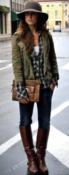 Plaid shirt and army jacket with skinny jeans! Great for autumn(fall)/winter outfit! Love <3